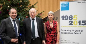 Lord Neuberger (centre) with Vice-Chancellor Professor Julius Weinberg and Law Professor Penny Darbyshire at Kingston University Law School's 50th anniversary lecture (1)